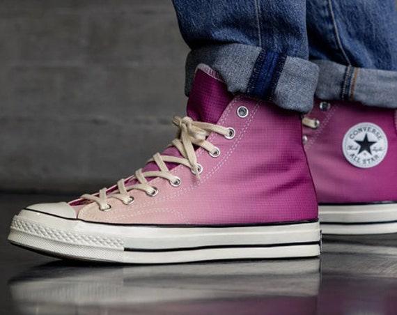 Pink Converse 70 High Ombre Magenta Fuchsia Water Rain w/ Swarovski Crystal Rhinestone Wedding Chuck Taylor All Star Trainer Sneakers Shoes