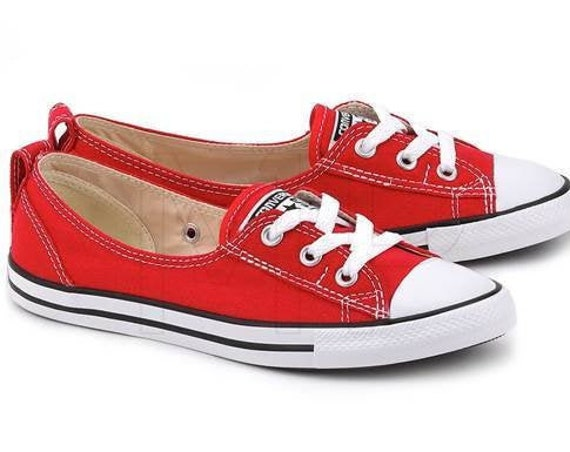 Red Converse Slip on flat Low Top Ballet Lace Reception Custom Jewel w/ Swarovski Crystal Chuck Taylor All Star Bride Wedding Sneakers Shoe