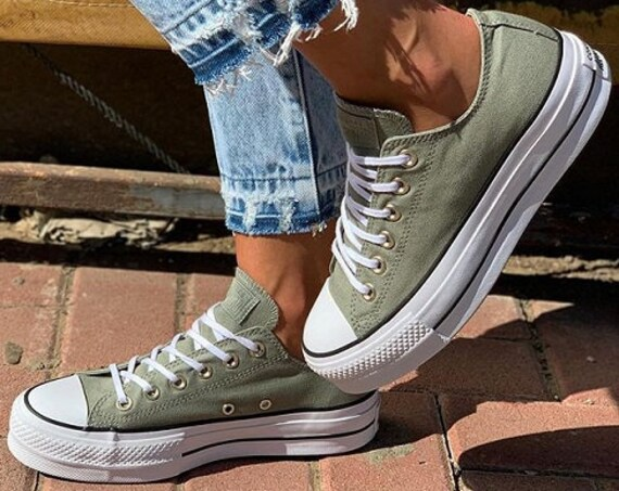Jade Green Converse Platform lift heels wedge Khaki Canvas Low Gold Club w/ Swarovski Crystal Rhinestone Chuck Taylor All Star Sneakers Shoe