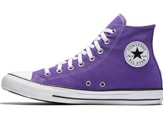 Purple Converse High Top Electric Grape Custom Bling Kicks w/ Swarovski Crystal Rhinestone Jewel Chuck Taylor All Star Wedding Sneakers Shoe