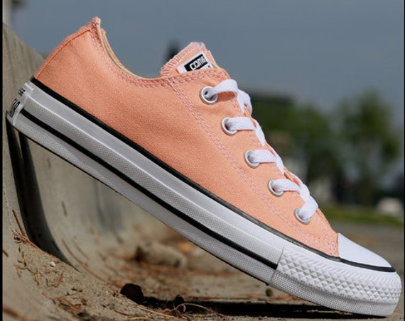 Peach Converse Low Top Kicks Custom Rose Gold Coral Apricot Swarovski Bling Crystal Rhinestone Chuck Taylor All Star Wedding Sneakers Shoes