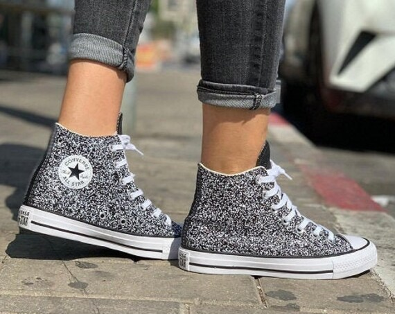 Black Glitter Converse Silver Sparkle High Top Gray Metallic Chuck Taylor Custom w/ Swarovski Crystal Rhinestone Bling All Star Sneaker Shoe
