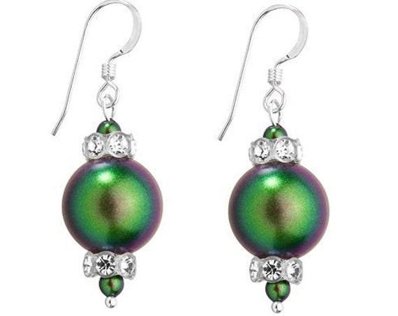 Pearl Earrings Iridescent Green Gold Chandelier Swarovski Crystal Pearls Elegant Silver Drop Dangle Hooks Titanium Hypo Allergy Ladies Gifts