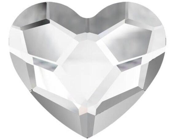 6mm Crystal Heart Earrings Custom Swarovski Heart Valentine Wedding Clear Rhinestone w/ Silver Titanium Post Hypoallergenic Minimalist Studs