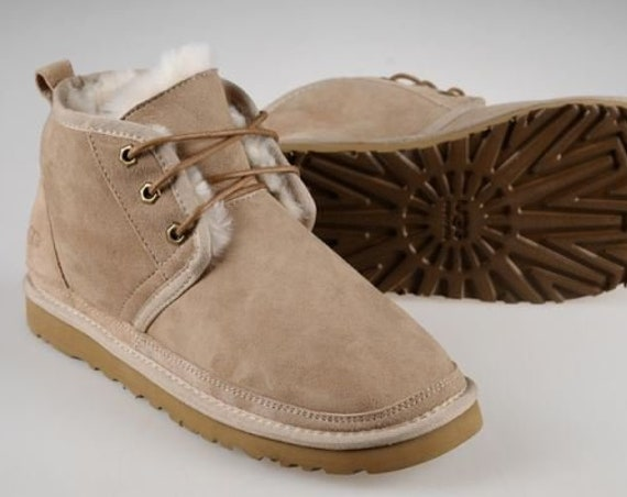 Custom Sand Light Beige UGG Neumel Short Boot Slip on Slippers Ladies SheepsWool Fur Suede Laced Winter w/ Swarovski Crystal Jewel Shoes