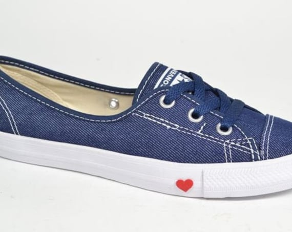 Navy Blue Indigo Slip on Converse Love Heart Ballet Lace Bridal w/ Swarovski Crystal Chuck Taylor Rhinestone All Star Wedding Sneakers Shoes