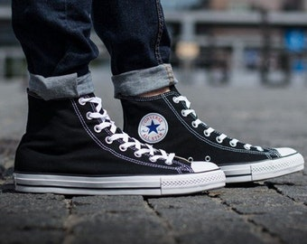 buy online 47635 a5e70 Black Converse High Top Mens Ladies Canvas w  Swarovski Crystal Rhinestone Bling ... f1141c60a101
