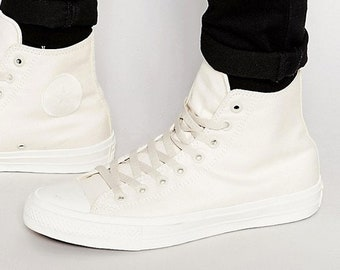 Ivory Converse High Top Chuck Taylor II Mono Unbleach Cream Bone White  Bride w  Swarovski Crystal Rhinestone All Star Wedding Sneakers Shoes b821ea804c