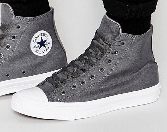 Gray Converse High Top Wedding Chuck Taylor II Mono Grey Thunder Silver Mens Canvas w/ Swarovski Crystal Rhinestone All Star Sneakers Shoes