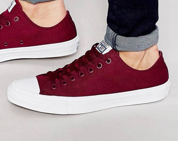 Burgundy Converse Low Top Chuck Taylor II Monochrome Bordeaux Red Wine Maroon Canvas w/ Swarovski Crystal Rhinestone All Star Sneakers Shoes