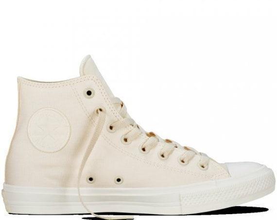Ivory Converse High Top Chuck Taylor II Mono Unbleach Cream Bone White Bride w/ Swarovski Crystal Rhinestone All Star Wedding Sneakers Shoes