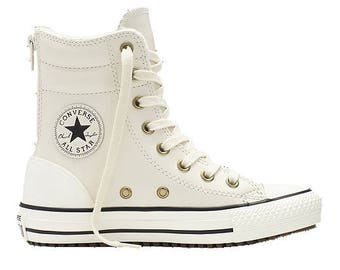 White Converse High Top Fur Leather Boot Zipper Winter Wedding Ivory Cream  Hi Rise w  Swarovski Crystal Chuck Taylor All Star Sneakers Shoes 8c825c4f2