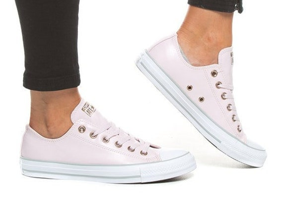 Pink Converse leather Lux Blush Silver Rose Gold Low Top Custom Bridal Wedding w/ Swarovski Crystal Chuck Taylor All Star Sneaker Shoe