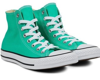 e3c77547844c1 Converse vert turquoise haut Top Menta menthe Teal Custom mariée  w Swarovski bling strass Chuck Taylor All Star mariage baskets chaussures