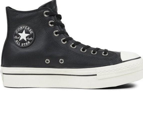 Black Converse Platform W 6.5 Leather High Tops Wedge Club Boot Custom w/ Swarovski Crystal Rhinestones Chuck Taylor All Star Sneakers Shoes