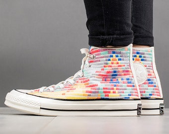011f733d806a Rainbow Converse High Top 70s Mara Hoffman W US 8 Quilted Knit Embroidery  w  Swarovski Crystal Rhinestone Chuck Taylor All Star Sneaker Shoe