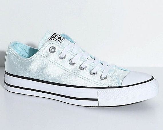 Baby Blue Converse Velvet Low Top Chuck Taylor Glacier Wedding Bridal Kicks Sea Foam w/ Swarovski Crystal All Star Sneakers Trainers Shoes