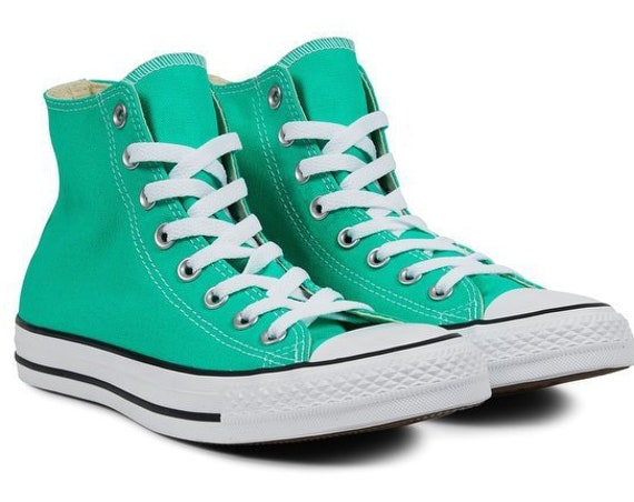Turquoise Green Converse High Top Menta Mint Teal Custom Bride w/ Swarovski Bling Rhinestones Chuck Taylor All Star Wedding Sneakers Shoes