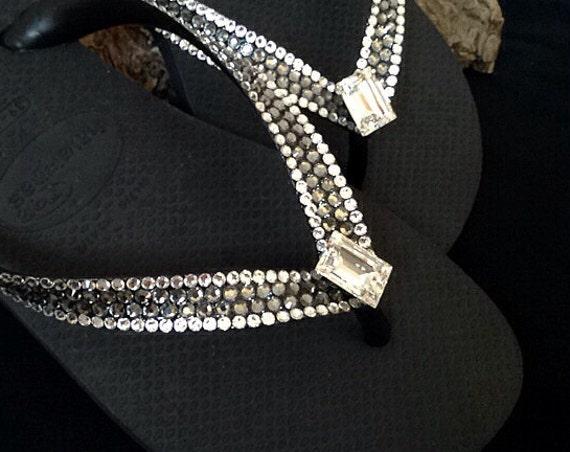 Silver Crystal Flip Flops Flat Dark Gray Custom w/ Swarovski Crystal Rhinestone Jewels Havaianas or Cariris Wedge Beach Thong Sandals Shoes