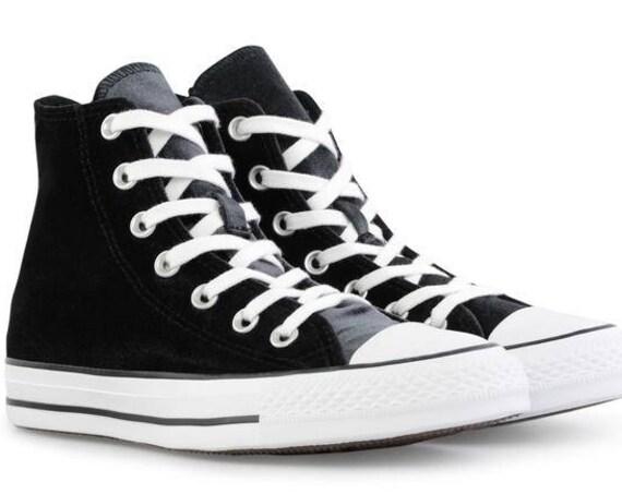 Black Velvet Converse Chuck Taylor Crush High Top w/ Custom Swarovski Crystal Bride Flat Jewel Bling Rhinestone Wedding Sneakers Custom Shoe