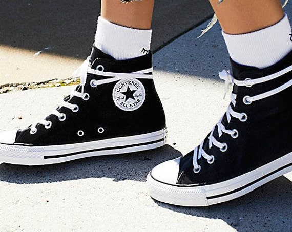 Black Velvet Converse Hi Top Kicks Chuck Taylor Crush Custom w/ Swarovski Crystal Bling Flat Rhinestone Jewel Bride Wedding Sneakers Shoes