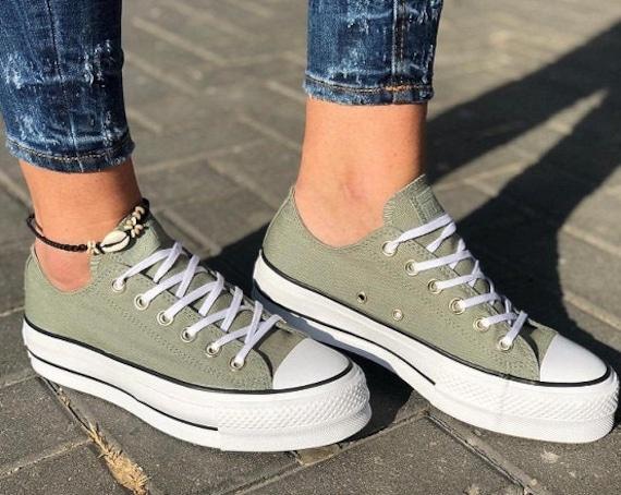 Jade Green Converse Platform lift heels wedge Khaki Canvas Low Gold Club w/ Swarovski Crystal Rhinestone Chuck Taylor All Star Sneakers Shoe