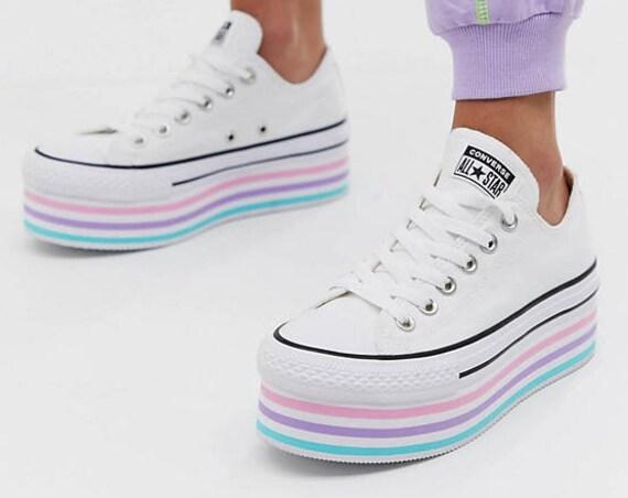 White Rainbow Converse Super Lift Platform layer wedge Canvas Low Club w/ Swarovski Crystal Rhinestone Chuck Taylor All Star Sneakers Shoes