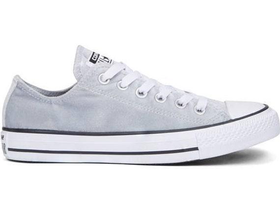 Gray Silver Velvet Converse Chuck Taylor Low Top Crystal Kicks Grey Cistom w/ Swarovski Rhinestone Bling All Star Bride Wedding Sneaker Shoe