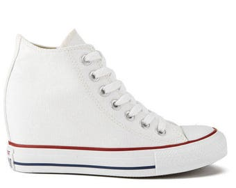 d19dabc8f52704 White Converse Canvas High Rise Lux Hidden Wedge Heel W US 9.5 RARE w   Swarovski Jewel Crystal Chuck Taylor All Star Wedding Sneakers Shoe