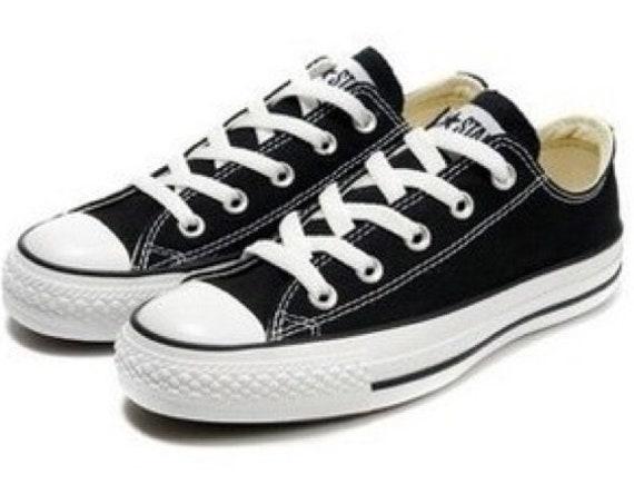 Black Converse Low Top Customized Canvas Bling Chuck Taylor w/ Swarovski Crystal Rhinestones All Star Wedding Sneakers Bridal Groom Shoes