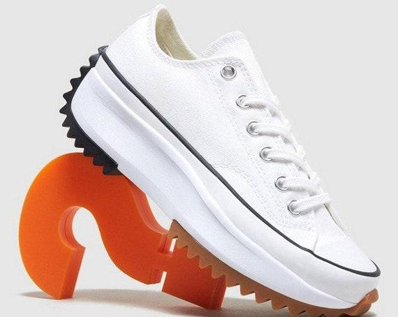 Converse Run Star Hike Low Top White Black Platform Wedge Club Kick w/ Swarovski Crystal Rhinestone Chuck Taylor All Star Sneakers Shoes