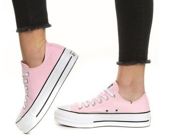 2ca2bdc813d5 Pink Converse Platform heels wedge White Lift Canvas Low Top Club Bling w   Swarovski Crystal Rhinestone Chuck Taylor All Star Sneakers Shoes