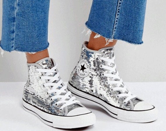 5d0d8d3f9c1e0f Silver Converse High Top Sequin Wedding Glitter Bling Gray Custom w  Swarovski  Crystal Rhinestone Chuck Taylor Kicks All Star Sneaker Shoes