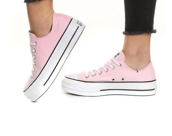 Platform Pink Converse heel wedge Lift Canvas Low Top Club Bling w/ Swarovski Crystal Rhinestone Chuck Taylor All Star Sneakers Shoes