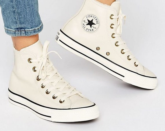White Fur Lined Converse Leather High Top Boot Ivory Brass W US 8 w/ Swarovski Crystal Bling Chuck Taylor All Star Wedding Sneakers Shoes