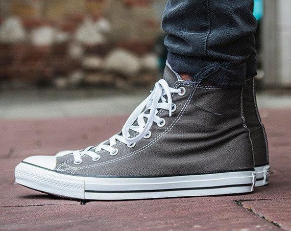 Gray Converse High Top Mens Ladies Gunmetal Charcoal Custom Wedding Kick w/ Swarovski Crystal Rhinestone Chuck Taylor All Star Sneakers Shoe