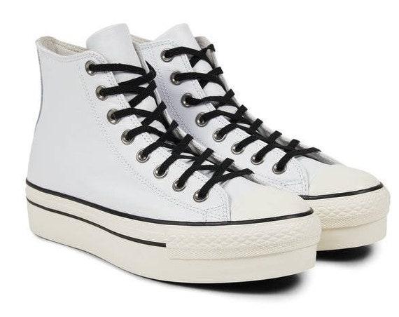 White Converse leather Platform Wedge High Top Lux Club Kicks Custom w/ Swarovski Crystal Rhinestone Chuck Taylor All Star Sneakers Shoes