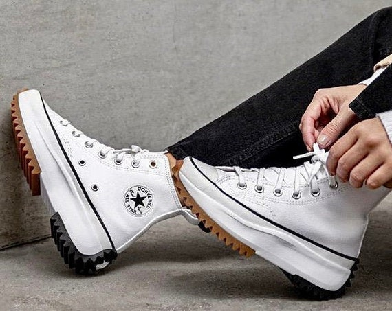 Converse Run Star Hike White Boot Platform Wedge High Top Club Kicks w/ Swarovski Crystal Rhinestones Chuck Taylor All Star Sneakers Shoes