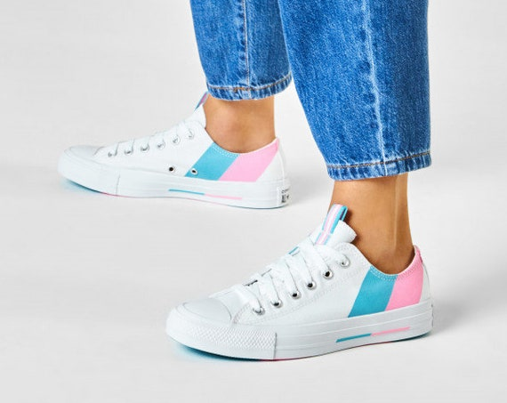 2020 Gay Pride Converse Pink Blue Low Rainbow All Star Custom LGTBQ w/ Swarovski Crystal Rhinestone Bling Chuck Taylor Wedding Sneakers Shoe