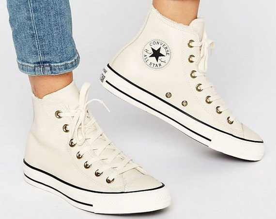 White Converse Leather High Tops Fur Lined Ivory Bone w/ Swarovski Crystal Rhinestone Bling Jewel Chuck Taylor All Star Wedding Sneaker Shoe