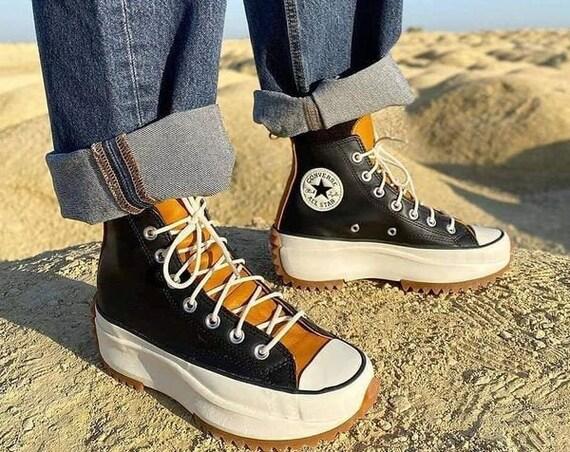 Converse Run Star Hike Leather Gold Saffron Black Mustard Yellow Boot Platform High Kicks w/ Swarovski Crystal Chucks All Star Sneakers Shoe