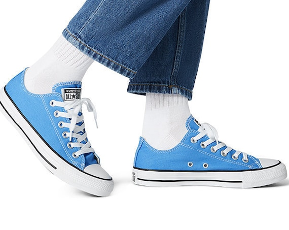 Blue Converse Coastal Sea Periwinkle Robin Egg Low Bride Bling w/ Swarovski Crystal Rhinestone Chuck Taylor All Star Wedding Sneakers Shoes