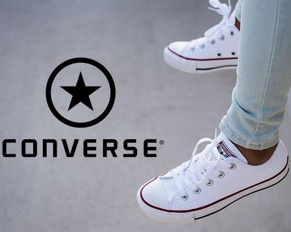 White Leather Converse Low Top Ladies Mens Custom Bride Bling w/ Swarovski Crystal Rhinestones Chuck Taylor All Star Wedding Sneakers Shoes
