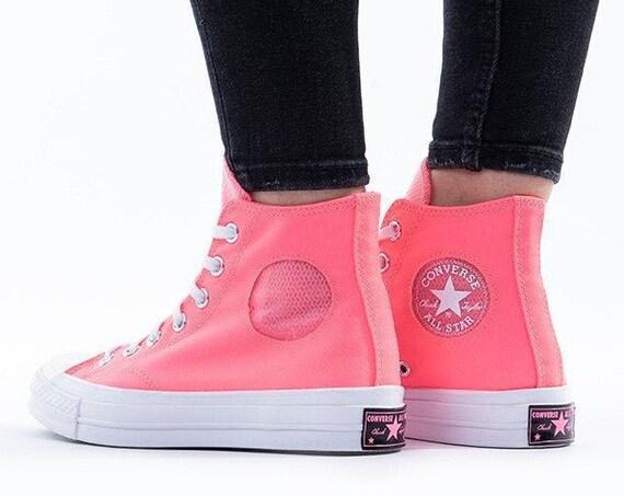 Blush Pink Converse High 70s Mesh Heat Rose Peral w/ Swarovski Crystal Rhinestone Chucks Taylor All Stars Bride Kicks Wedding Sneakers Shoes