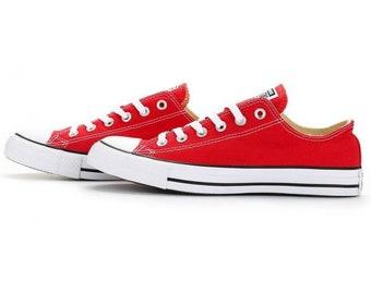 ... buy online fc63b 8c801 Red Converse Low Top Classic Cherry Canvas  Custom Kicks w Swarovski Crystal ... 860f6b5f72