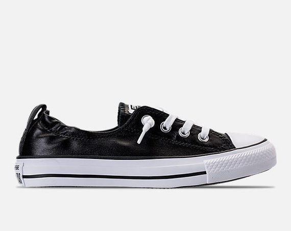 Black Converse Metallic Shoreline Wedding Slip on Ladies Bridal w/ Swarovski Crystal Rhinestone Jewel Chuck Taylor All Star Sneakers Shoes