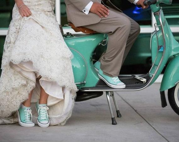 Mint Green Converse Low Top Sea Foam Pistachio Bride Wedding w/ Swarovski Crystal  Rhinestone Chuck Taylor All Star Bridal Sneakers Shoes