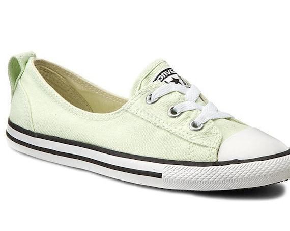 Mint Green Converse Slip on Pistachio Low Ballet flat Wedding Lace w/ Swarovski Crystal Chuck Taylor Rhinestone All Star Bride Sneakers Shoe