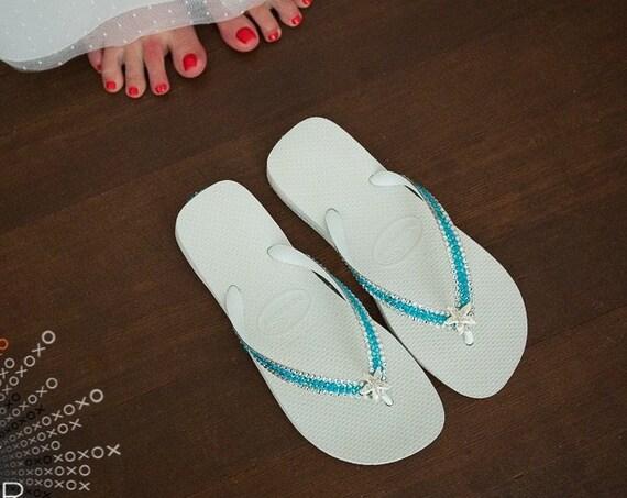 Silver Starfish Crystal Flip Flops Mint Green Sea Foam Turquoise Blue Aqua Havaianas flat or Wedge Heel w/ Swarovski Wedding Slip on Shoes
