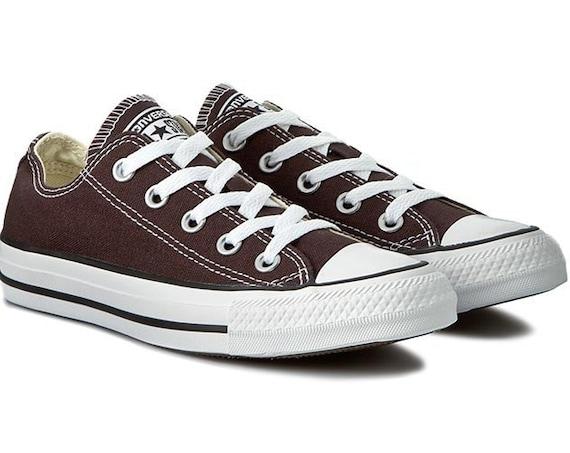 Brown Converse Umber Low Kicks Custom w/ Swarovski Crystal Bling Mens Chucks All Stars Chocolate Root Groom Bride Wedding Sneakers Hi Shoes